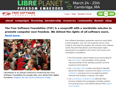 fig:Page d'accueil de la Free Software Fondation http://fsf.org